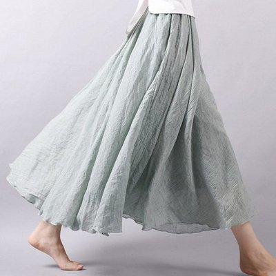 仙氣滿滿女舞者最愛多色韓文藝 棉麻連身裙 腰部鬆緊大裙擺波浪滾邊棉麻長裙 艾爾莎【TAE6662】