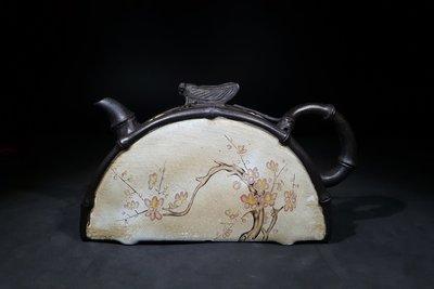 《藏壺軒》~蔣蓉~竹段半月釉彩壺~(1元起標、不作價、不圍標標、多少賣多少)