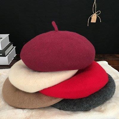 網紅貝雷帽女秋冬韓版日系百搭羊毛呢英倫畫家帽蓓蕾帽子可愛軟妹