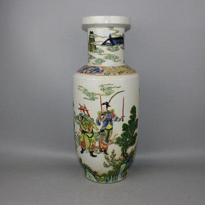 ㊣三顧茅廬㊣ 清粉彩人物戰將棒槌瓶青花款釉上彩古玩古董收藏
