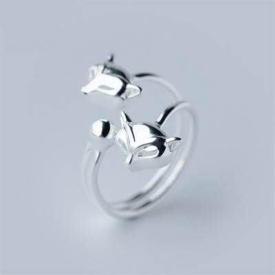 開口戒 925純銀 戒指-艷麗迷人狐狸造型生日情人節禮物女飾品73dt422[獨家進口][米蘭精品]