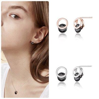 【韓Lin連線代購】韓國 HAESOO.L 海秀兒 - JE805 925銀 設計師款造型黑寶石個性耳環