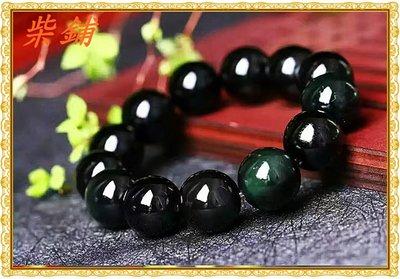 【柴鋪】特選 墨西哥彩虹眼 全綠眼黑曜石手鍊 顆顆雙綠光眼 18mm圓珠(G6-6)