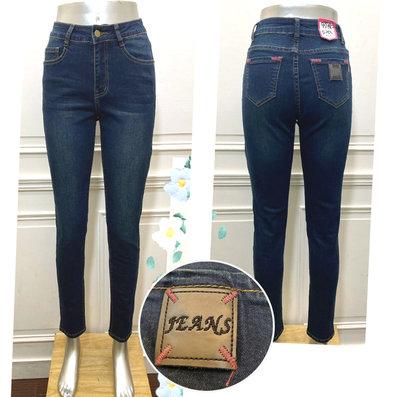 現貨《2L.3L.4L.5L》5698簡約皮革造型深色系牛仔褲長褲/大尺碼牛仔褲【時尚Tina】鑽石比例