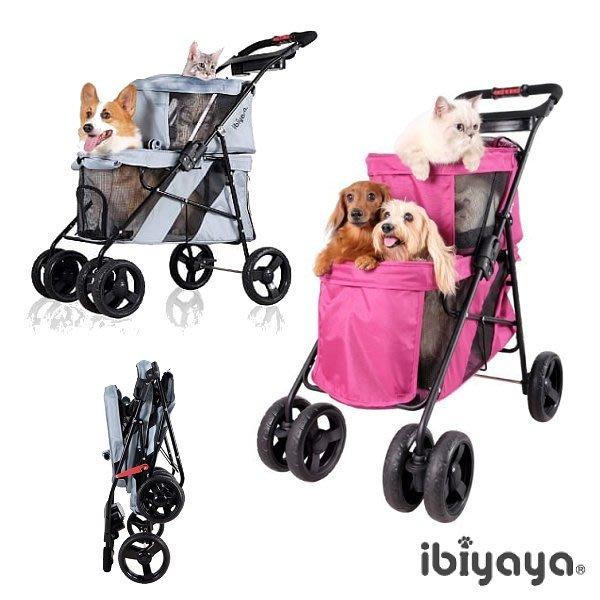 *COCO*依比呀呀-雙層子母寵物小巴FS1770(星際灰/羅曼紅)寵物推車/IBIYAYA狗推車