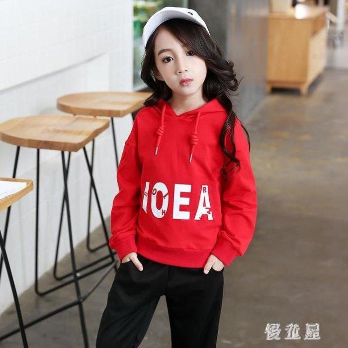 中大尺碼女童連帽T恤 新款韓版兒童時尚上衣中大童休閒套頭衫潮 QG7895