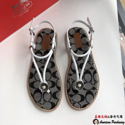 美國大媽代購 COACH 寇馳 C字帆布夾腳拖 涼鞋 女鞋 原裝正品 美國代購