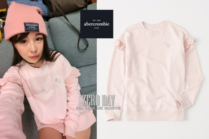 a&f真品abercrombie&fitch girl ruffle-sleeve icon pullover荷葉大學T