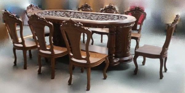 樂居二手家具生活館(中) 台中全新中古傢俱買賣 P130 *全新實木柚木歐式雕刻餐桌椅組 一桌8椅* 實木家具拍賣 大茶