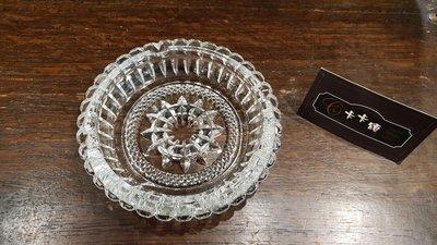 【卡卡頌 歐洲跳蚤市場/歐洲古董】歐洲老件_厚實 水晶 雕刻盤 菸灰缸 水晶碟 幾何圖形 小物盤 g0473✬