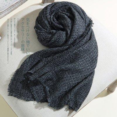 【Lady Luck服飾】日本!難得壹見面料 中性灰色圍巾粗織圍巾 亞麻圍巾男女百搭窄版