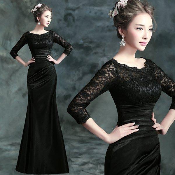 大小姐時尚精品屋~~黑色晚宴敬酒婚紗長禮服~3件免郵