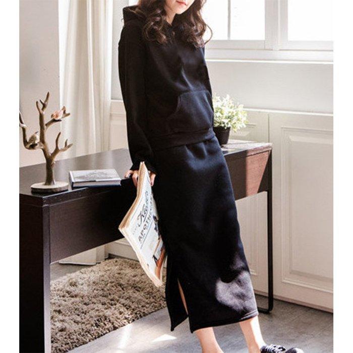 【Hao Da】全館399免運↘「M~XL。現貨」2色 兩件式 彈力刷毛 口袋連帽上衣 開岔長裙 (P1121)