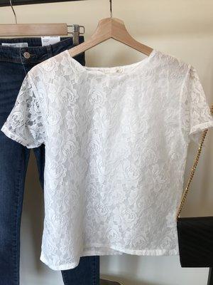 全新 日本品牌 Do one's Utmost  優雅純白波浪領蕾絲短袖上衣