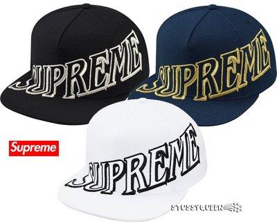 【超搶手】全新正品2014 AW 秋冬 Supreme Overlap 5 Panel 刺繡 羊毛 棒球帽 黑 白 深藍