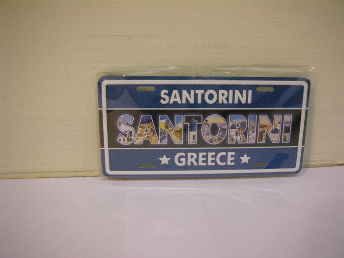 全新希臘購回 GREECE SANTORINI 聖托里尼島 厚實具重量質感可吊掛式車牌造型立體凸字印圖冰箱貼吸磁吸鐵磁鐵