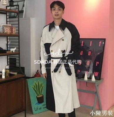 韓國東大門男裝代購18秋裝 韓版時尚長褲系帶撞色風衣trench coat 低價 批發