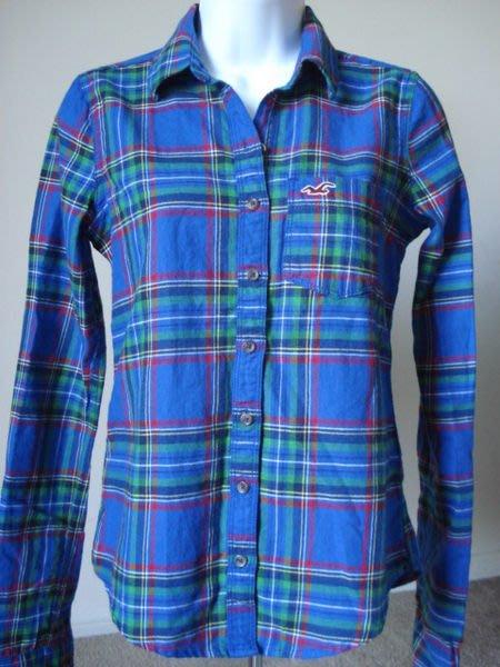 【天普小棧】HOLLISTER HCO Shelter Islands Shirt長袖格紋襯衫藍色格紋XS號