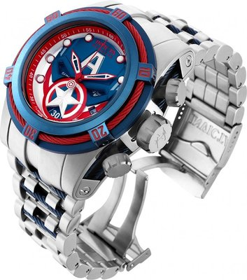 《大男人》Invicta #7045MARVEL漫威美國隊長50MM個性潛水錶,非常稀有(本賣場全現貨)