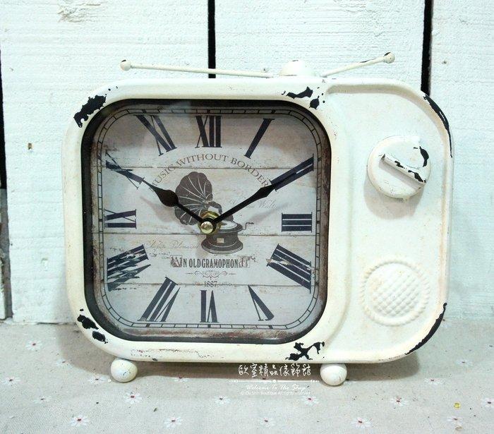 ~*歐室精品傢飾館*~Loft工業 美式鄉村 鐵製 仿舊 復古 電視機  造型 桌鐘 時鐘 白色 擺飾 裝飾~新款上市~