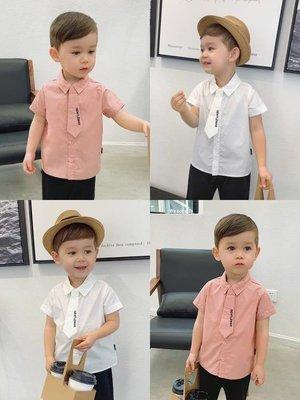 辰辰媽嬰童裝夏裝2019新款男童短袖襯衣1-3-5歲帥氣寶寶紳士襯衫