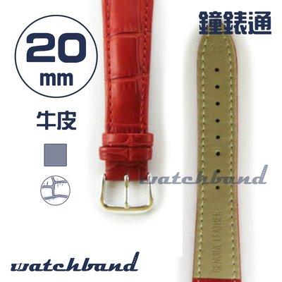 【鐘錶通】C1.30AA《霧面系列》鱷魚格紋-20mm 霧面朱紅┝手錶錶帶/皮帶/牛皮錶帶┥