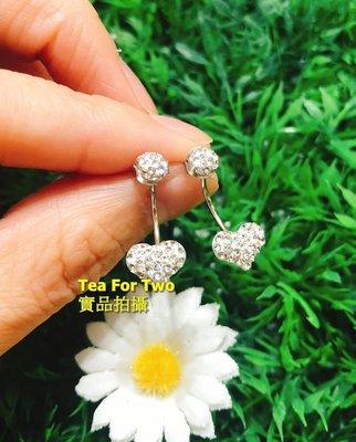 香港正生(現貨NO.1)-愛心銀鑽浪漫耳環1對