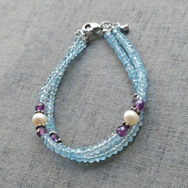 ☆采鑫天然寶石☆**清澈霓藍** **頂級 磷灰石手鍊~搭配珍珠與紫水晶~雙串細緻款~小手圍