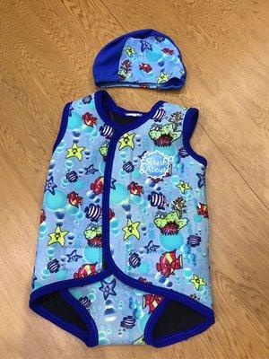 《Splash About 潑寶》BabyWrap 包裹式保暖泳衣 / 泳帽- 海底世界 / 寶藍