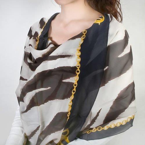 【姊只賣真貨】Christian Dior時尚斑馬紋長絲巾(黑/咖啡)送禮禮物自用皆可