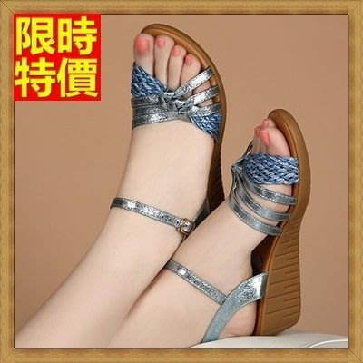 厚底涼鞋 坡跟女涼鞋 楔型涼鞋-波希米亞編織帶時尚真皮女鞋子3色69w7[獨家進口][米蘭精品]