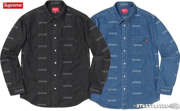 【超搶手】全新正品 2019 SS Supreme Logo Denim Shirt 字體 牛仔單寧工作襯衫 黑S 藍S