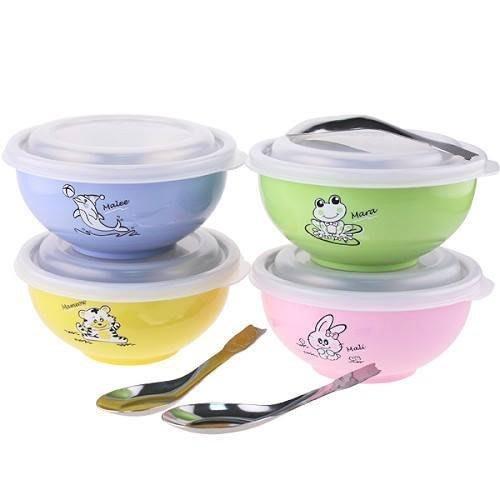 [老王五金]開發票 斑馬牌 兒童碗 [塑膠蓋]  隔熱碗 幼稚園 三色碗 學習碗 彩色碗 304不銹鋼