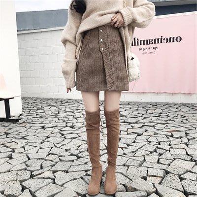 韓風Chic高腰復古格子毛呢半身裙女秋冬季修身呢子A字短裙