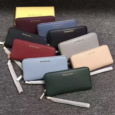 《美國代購》Michael kors MK荔枝紋拉鏈錢包 真皮女士長夾 手拿包 多功能錢夾 手機包
