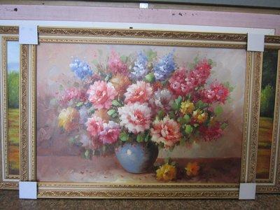 『府城畫廊-手繪油畫』牡丹花-花開富貴-畫風細膩獨特-72x102-(含框價,可換框)-有實體店面-請查看關於我聯繫-
