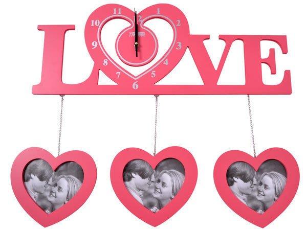 【御品生活】造型掛鐘Love(愛心)附含三個心型相框(粉色/白色)※靜音機芯※  時鐘 造型鐘
