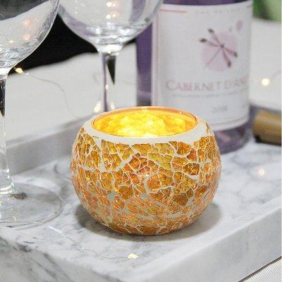 熱銷#歐式金色馬賽克玻璃圓球燭臺浪漫燭光時尚裝飾擺設送電子蠟#燭臺#裝飾