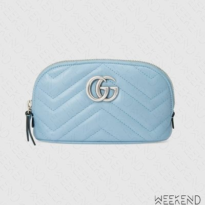 【WEEKEND】 GUCCI GG Marmont Cosmetic Case 化妝包 淡藍色 625544