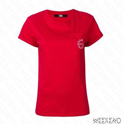 【WEEKEND】 KARL LAGERFELD Logo 卡爾 短袖 上衣 T恤 紅色 19春夏