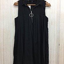 ZARA 黑色立領拉鍊造型連身裙(全新)