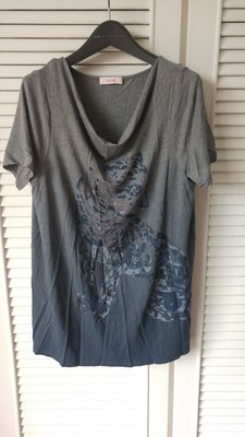 原價$19680【Laurel】灰色老虎亮片垂領棉質上衣