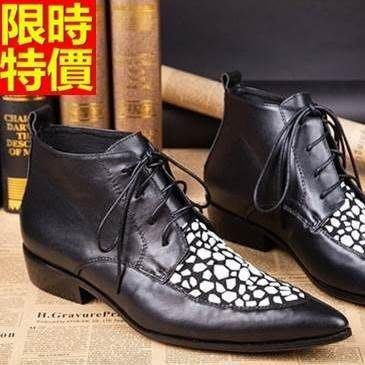 尖頭皮鞋 真皮短靴子-經典石頭紋繫帶時尚低跟男鞋子65ai47[獨家進口][米蘭精品]