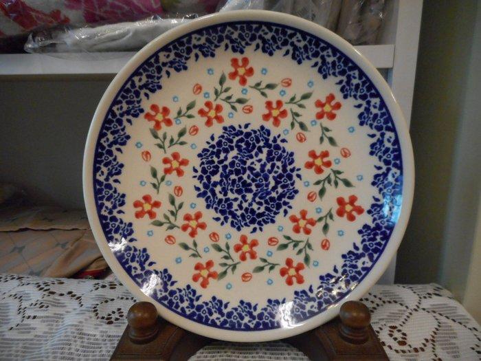 ~~凡爾賽生活精品~~全新波蘭進口彩繪紅色小花造型圓形餐盤.水果盤.點心盤