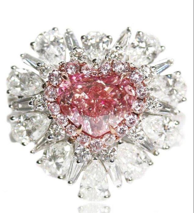 【台北周先生】天然Fancy粉紅色鑽石 2.01克拉 even 罕見巨大 18K金豪華美戒 送GIA證書