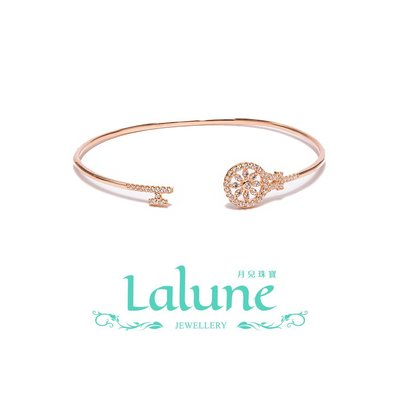 925純銀 Generations 跨世代玫瑰金號圓輪細手環 小資OL 晶鑽CZ水鑽 鑰匙