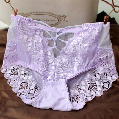 M3#性感低腰蕾絲誘惑無痕鏤空薄款透明淡紫色三角內褲