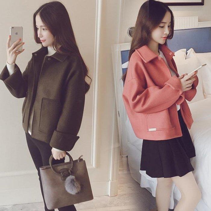 2018秋冬季新款韓版寬松小個子毛呢外套女學生短款修身反季大衣潮