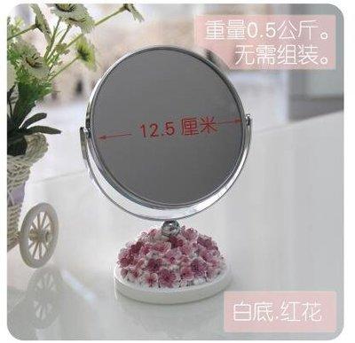 【優上】桌面雙面旋轉化妝鏡子 高清臺式日韓歐式公主放大鏡雕花「白底.粉花」