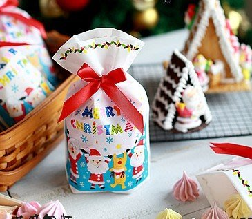 (甜心手作坊)聖誕party餅乾抽繩袋 禮品袋1個